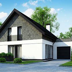 Z371 - dom z poddaszem użytkowym z garażem od frontu z bocznym wjazdem...
