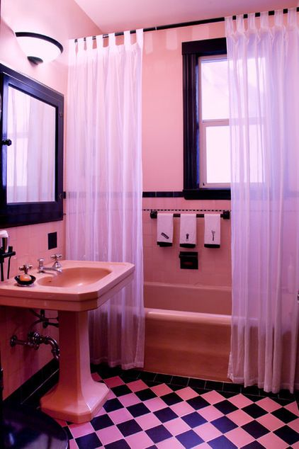 My Houzz Walls And Shelves Are This Collector S Colorful Canvas Pink Bathroom Pink Bathroom Tiles Black Bathroom Decor
