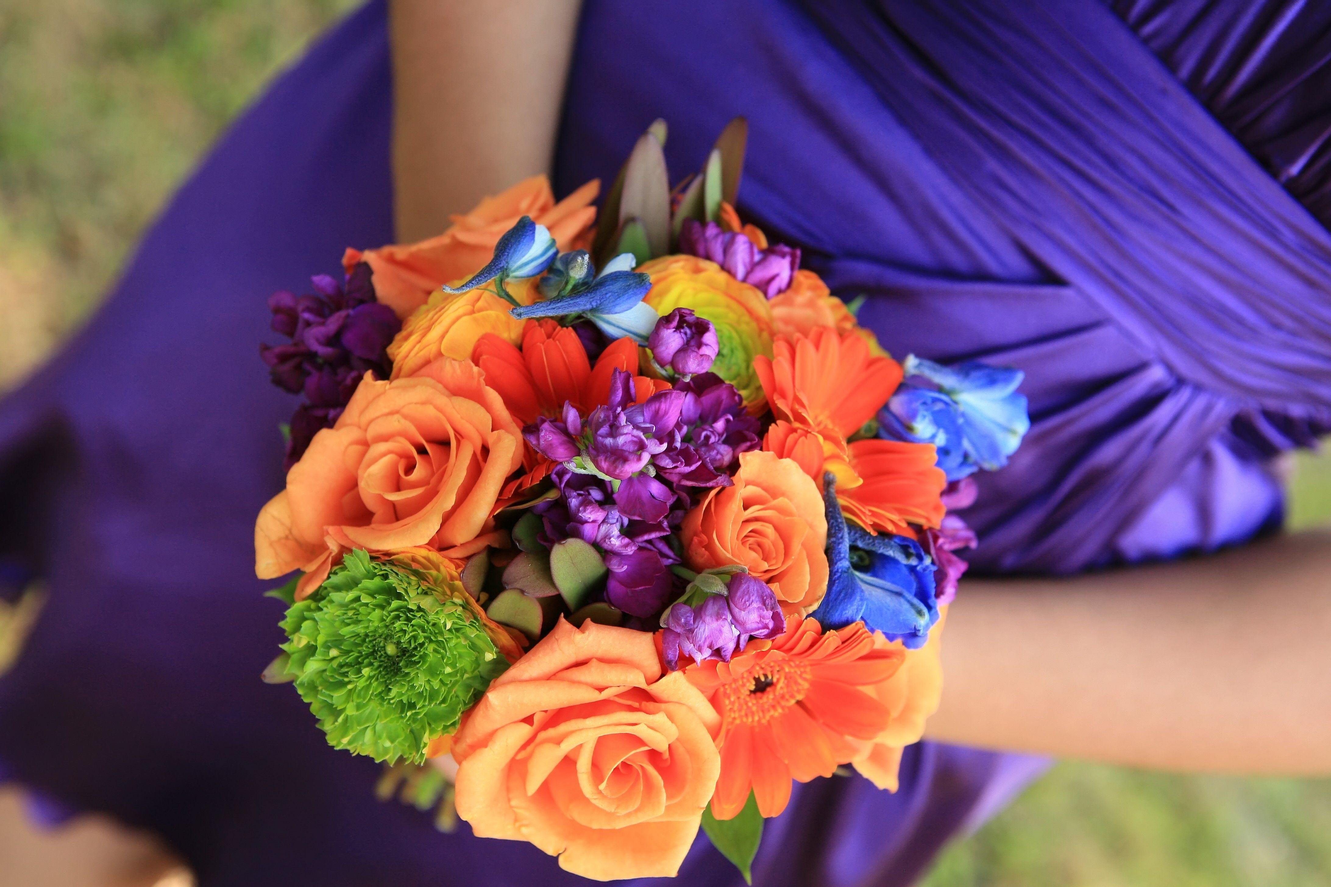 Flowers Decor Bridesmaids Dresses Fashion Orange Purple Blue Bride Bouquets Bridesmaid Bouquet Flo