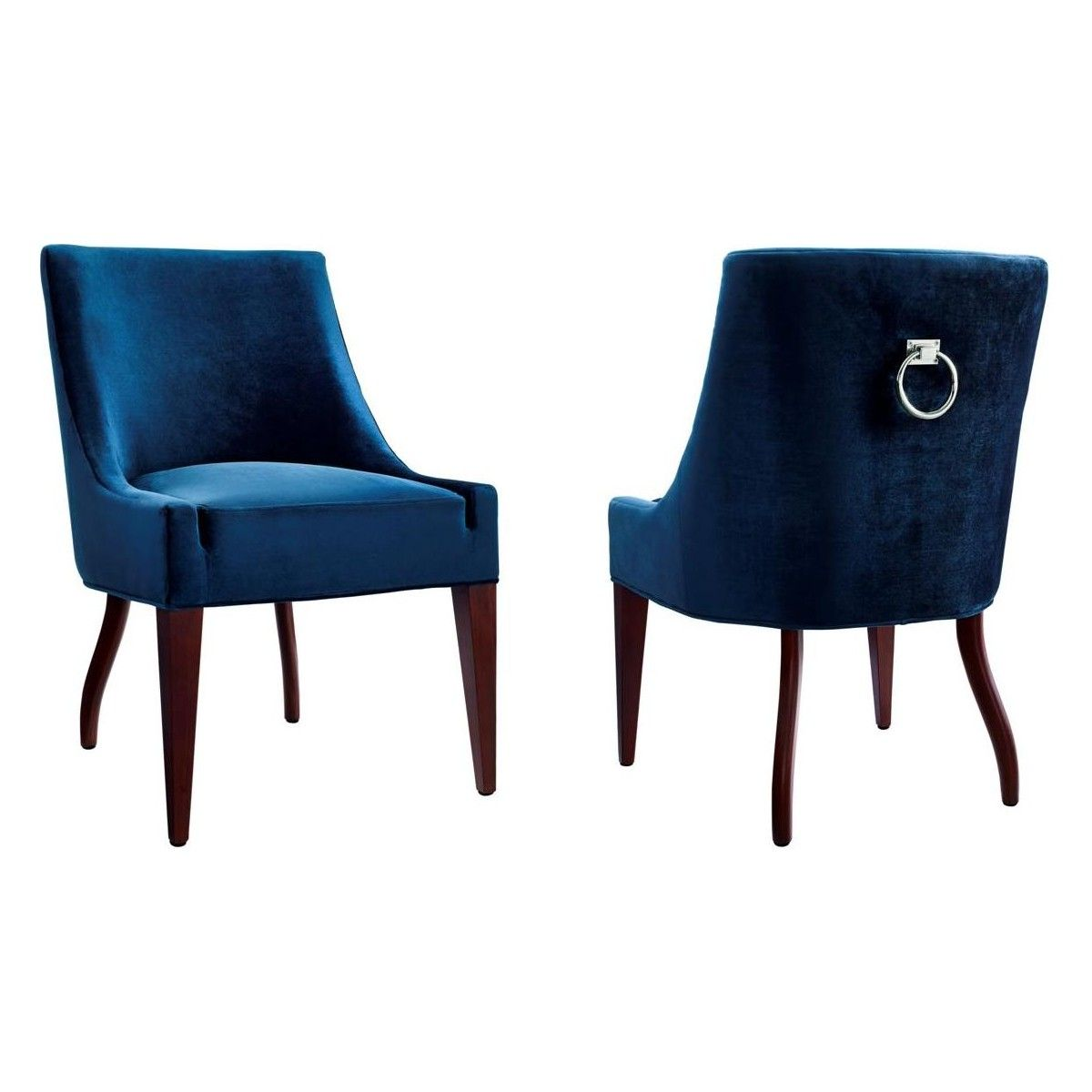 Nice Tov Furniture Dover Blue Velvet Dining Chair Silver Ring Back