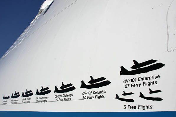 Special markings show the number of ferryflight legs conducted for each shuttle.