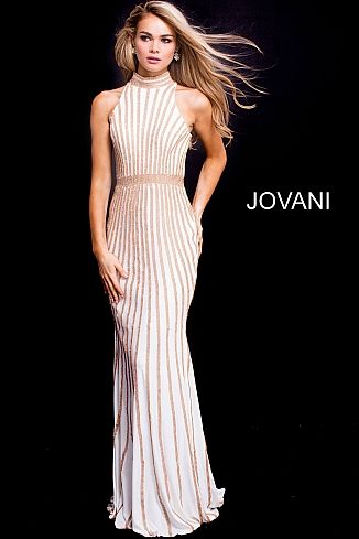 ba979b48e5f2 White Gold Fitted High Neck Embellished Prom Dress 56001 Fitted Prom Dresses,  Prom Dresses Jovani