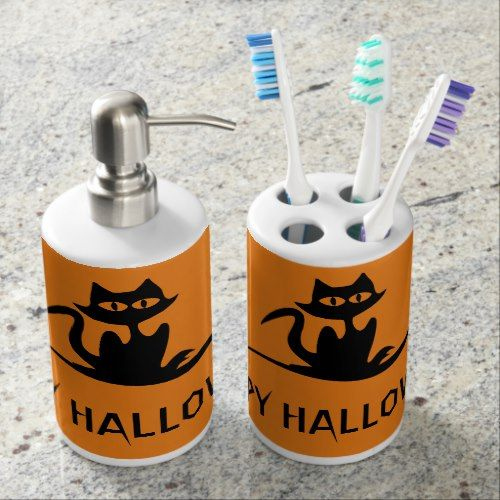 Halloween Scary Cat Soap Dispenser And Toothbrush Holder Bathroom - halloween bathroom sets