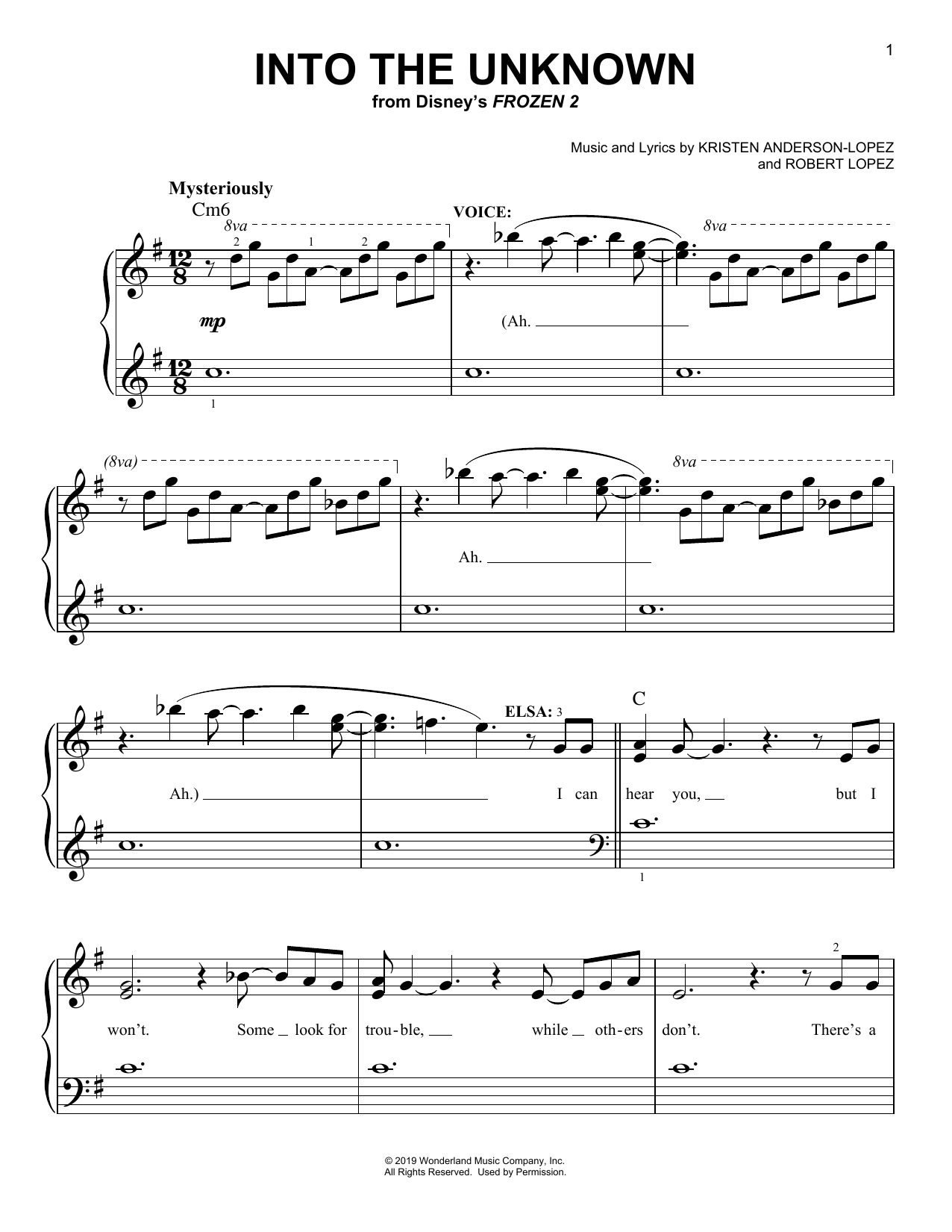 Into The Unknown (from Disney's Frozen 2) Sheet Music | Idina Menzel and AURORA | Easy Piano