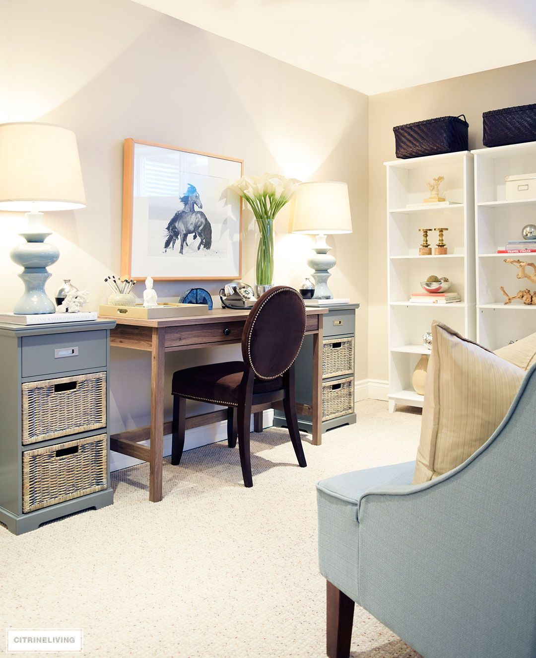 How I Created A Pretty Office Space In Our Basement Basement