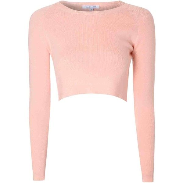 6974309f591b39 Glamorous Light Pink Cropped Knit Top ( 38) ❤ liked on Polyvore featuring  tops
