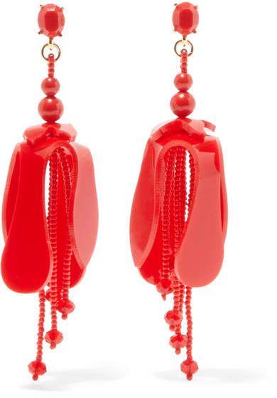 Beaded Acetate Clip Earrings - Red Oscar De La Renta GI8bzh6Xsc