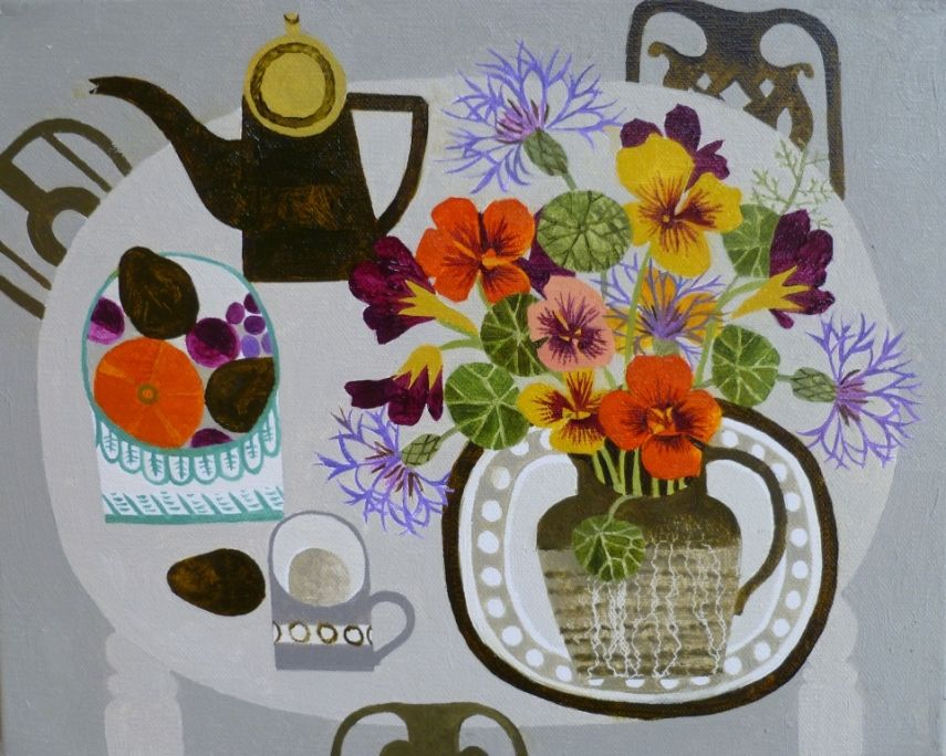 Nasturtiums and fruitbowl  by VANESSA BOWMAN   http://www.dart-gallery.com/
