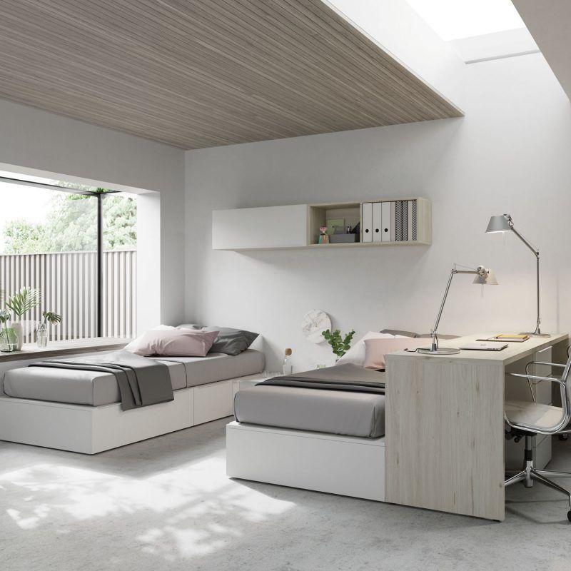 Galería habitaciones juveniles con rayas Galería De Lujo Asombrosa - Habitación-juvenil-doble-escritorio-jjp-jotajotape ...