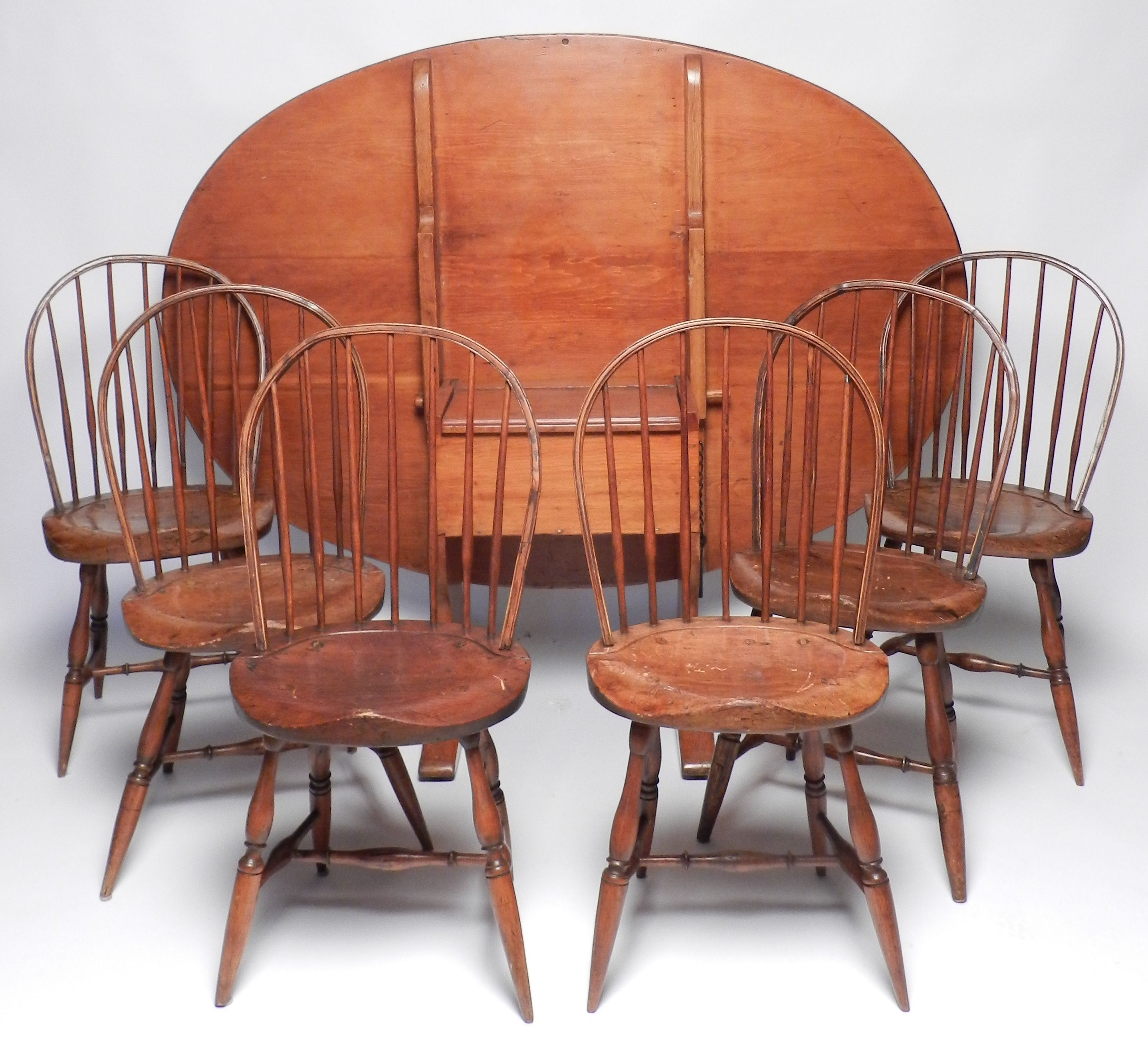 Set Of Six Pennsylvania Windsor Side Chairs Circa And Early Century American Pine Chair Table Height 27 In Width 46 1 2 Length 66