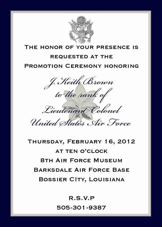 Custom Listing J  K  Brown: Military Promotion Invitations