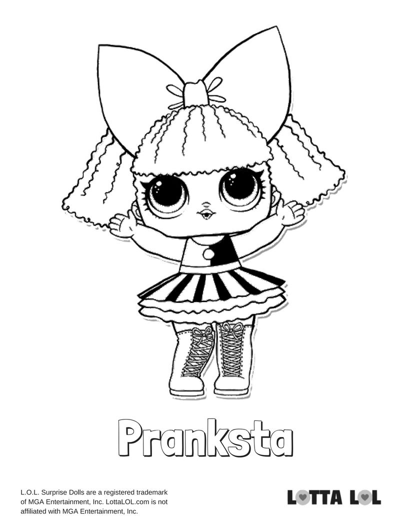 Pranksta Coloring Page Lotta Lol Coloring Pages Lol Dolls Kids Printable Coloring Pages