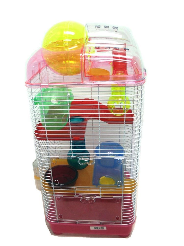 Yml 3 Level Clear Plastic Dwarf Hamster Mice Cage With Ball On Top