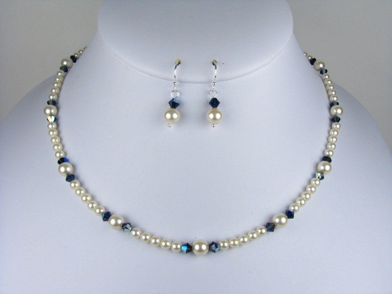Bridesmaid Necklace Set Swarovski Pearl by TwoBeWedJewelry on Etsy
