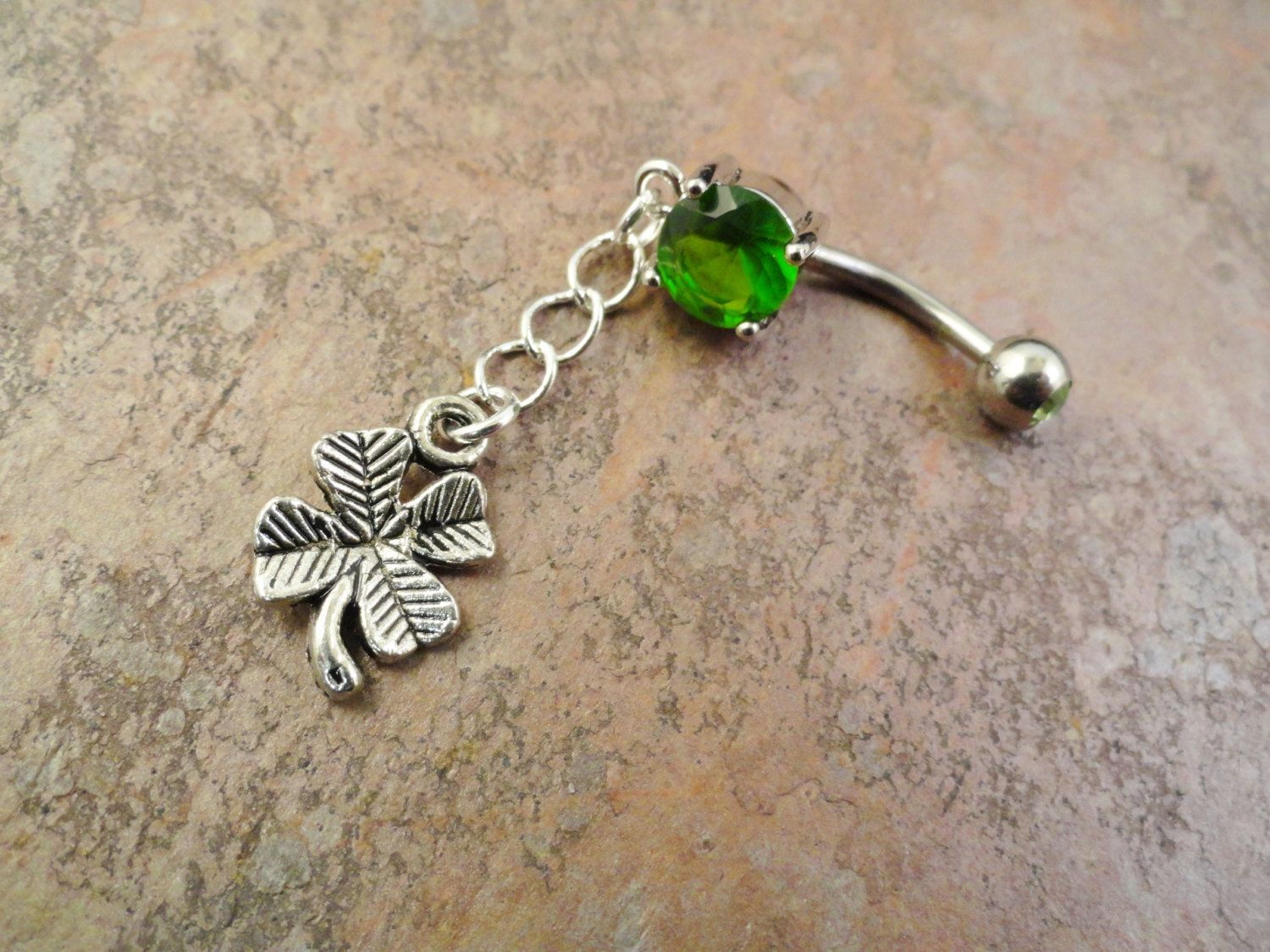 Belly button piercing names  Four Leaf Clover Belly Button Ring  via Etsy  Dream Closet
