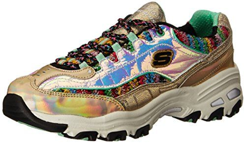 Skechers Sport Women's D'Lites Gold Dust Fashion Sneaker, Gold/Multi, 9