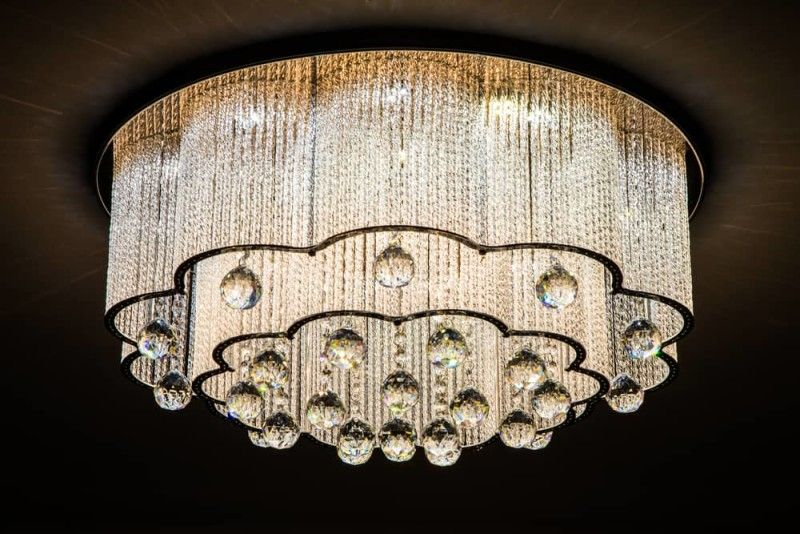 High end chandeliers and unique crystal chandeliers close up of a beautiful rounded edged modern crystal chandelier aloadofball Gallery