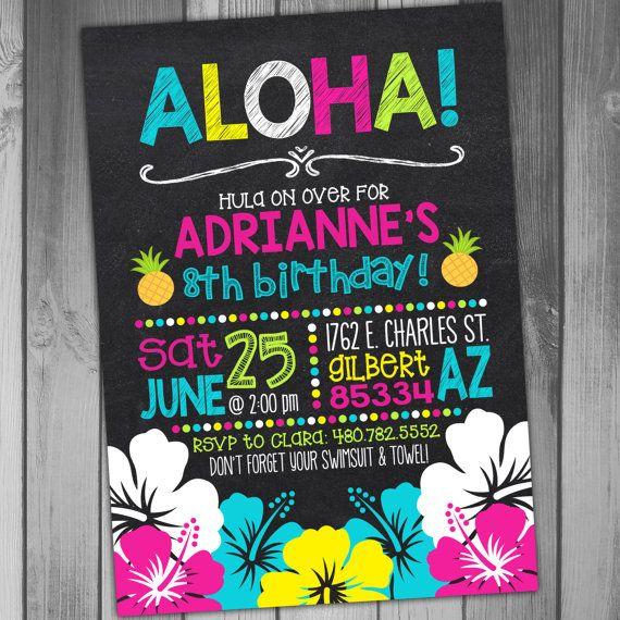 Luau Birthday Invitation Luau Party Hawaiian Birthday Invitation