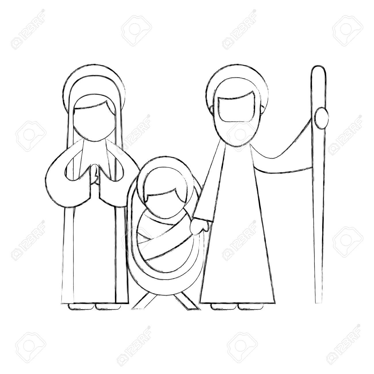 Christmas Nativity Scene Holy Family Jesus Mary And Joseph Vector
