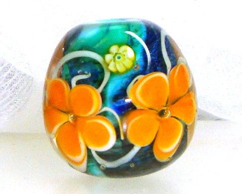 Handmade Lampwork Bead Floral Yellow Gold Maize by elizabethsbeads, $20.00