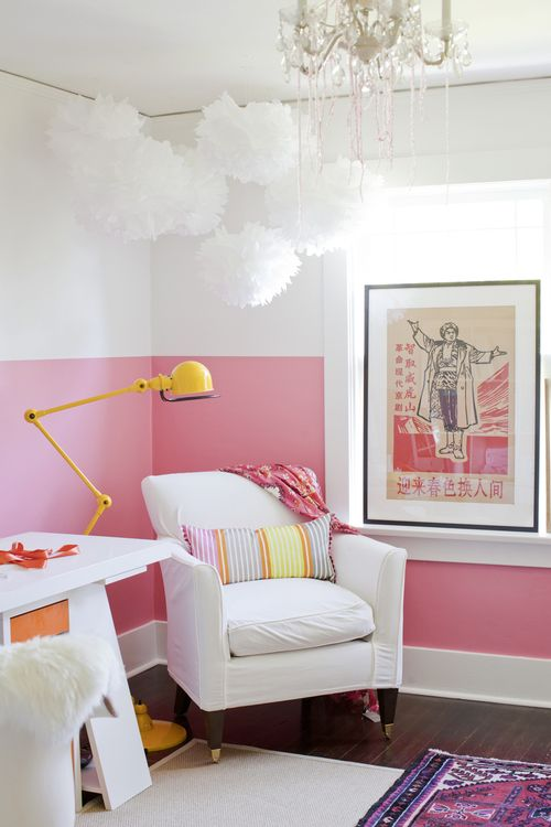 Half pink wall decorating trick cheap bedroom makeover - Cheap decorating ideas for bedroom walls ...