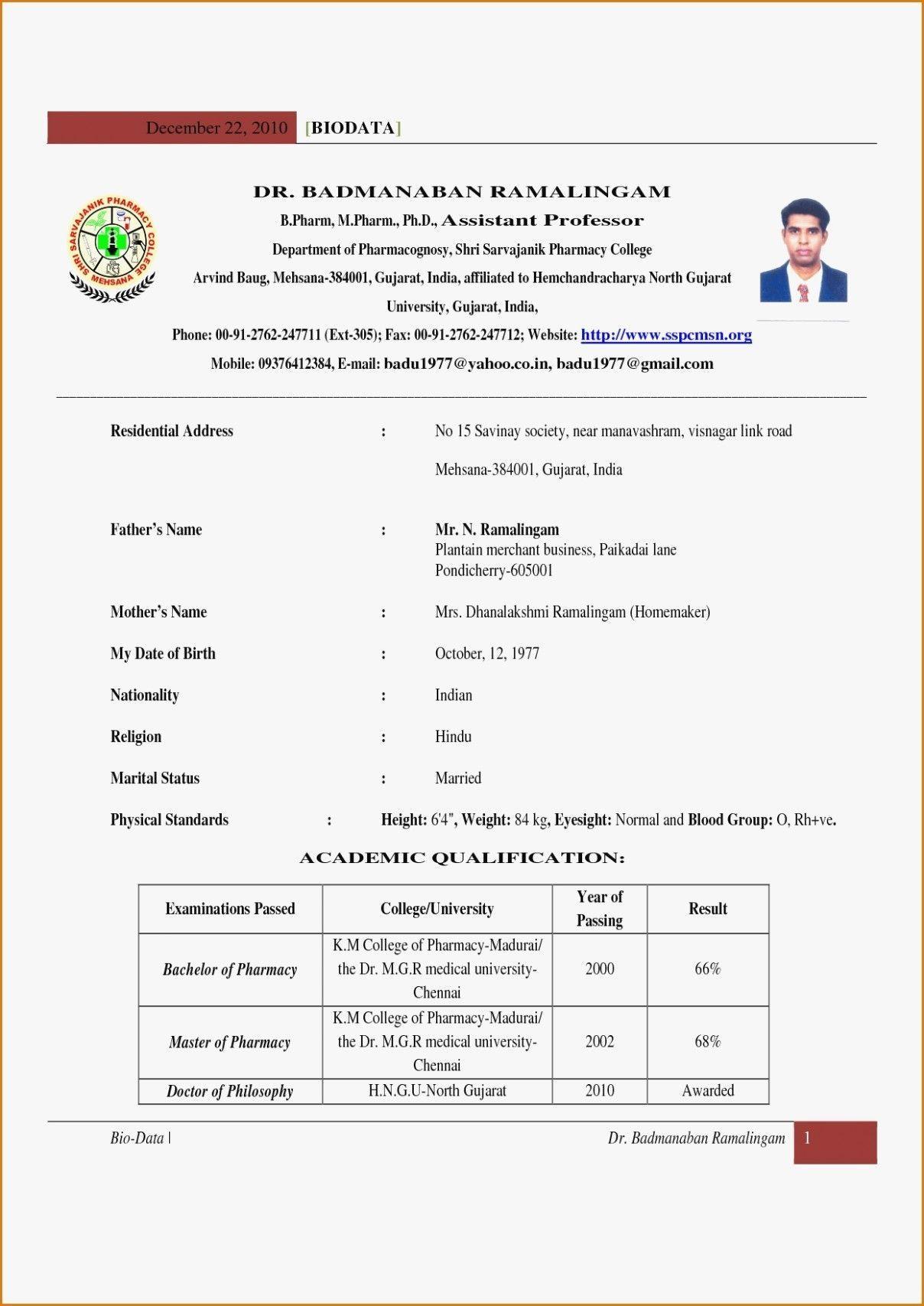 B Pharmacy Resume Format For Freshers , format freshers