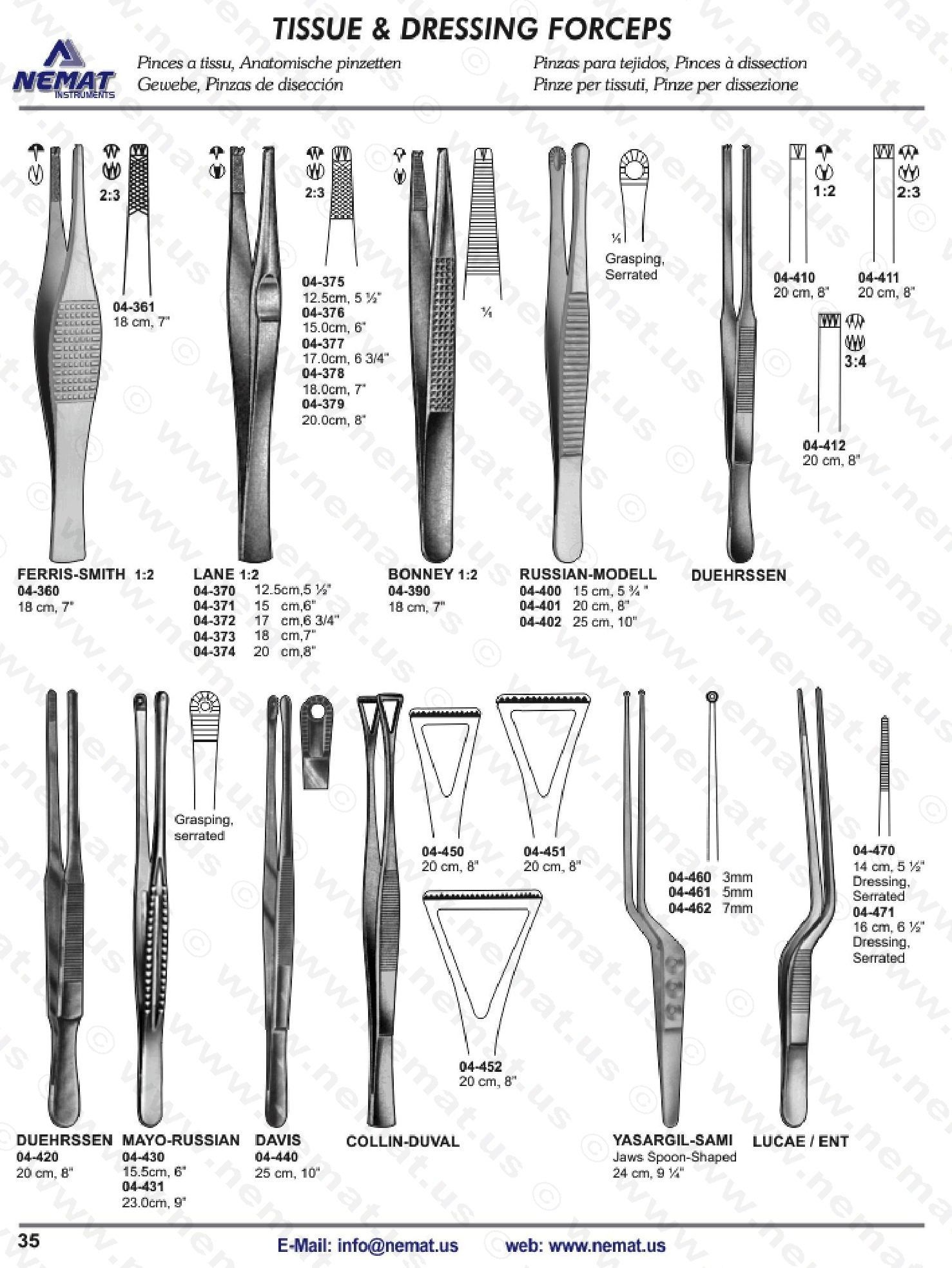 TISSUE AND DRESSING FORCEPS | E-Catalog Surgical Instrument ... for Forceps Types  45ifm