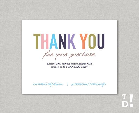 Delightful Business Thank You Cards Template INSTANT DOWNLOAD   Naturally Colorful Inside Business Thank You Card Template