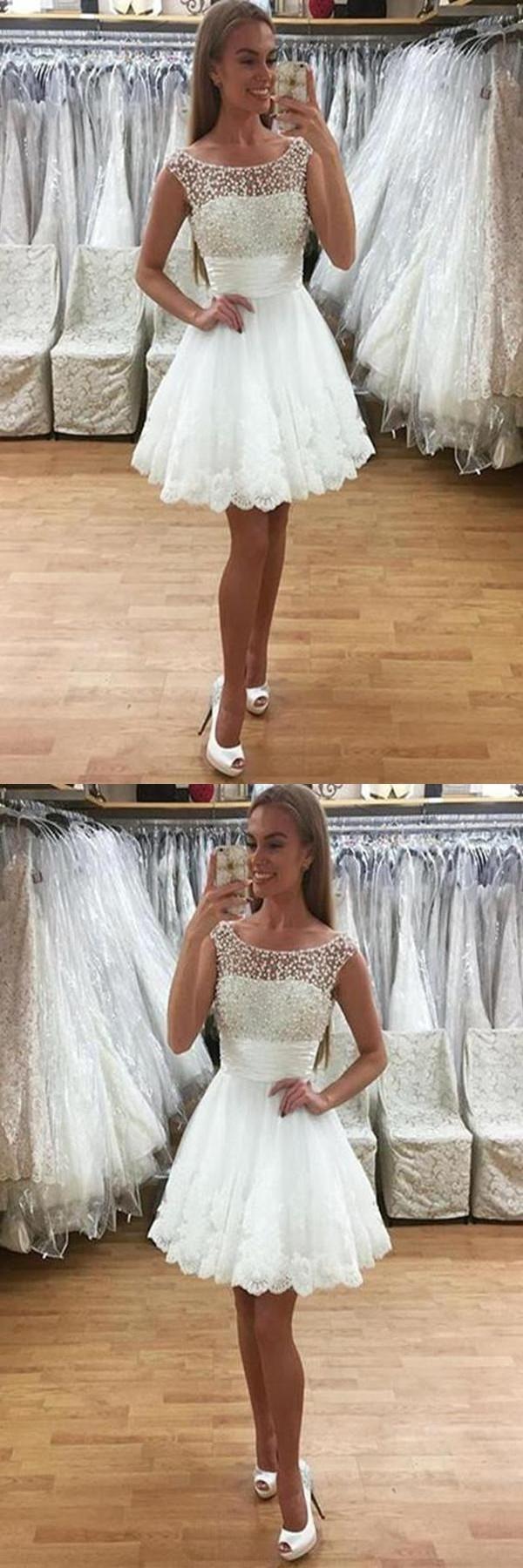 Customized morden prom dresses short white tulle a line beading
