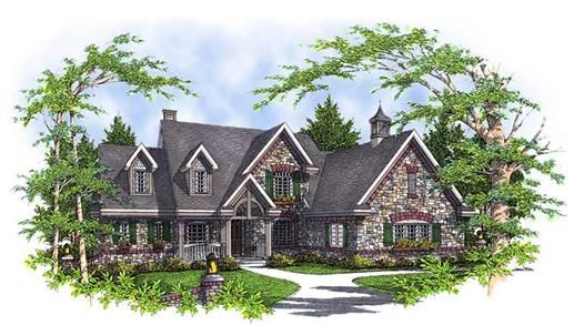 This alluring European style house with French influences (House Plan #101-1248) has over 2990 sq ft of living space. The two story floor plan includes 4 bedrooms.