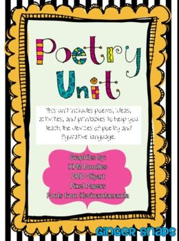 This unit includes poems, ideas, and activities to help you teach the characteristics of poetry and the devices of figurative language. It incl...