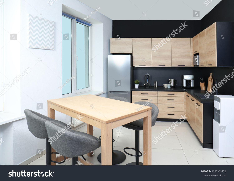 Cozy Modern Kitchen Interior With New Furniture And Appliances Sponsored Ad Kitchen Modern Cozy With Images Modern Kitchen Interiors Kitchen Interior Modern Kitchen