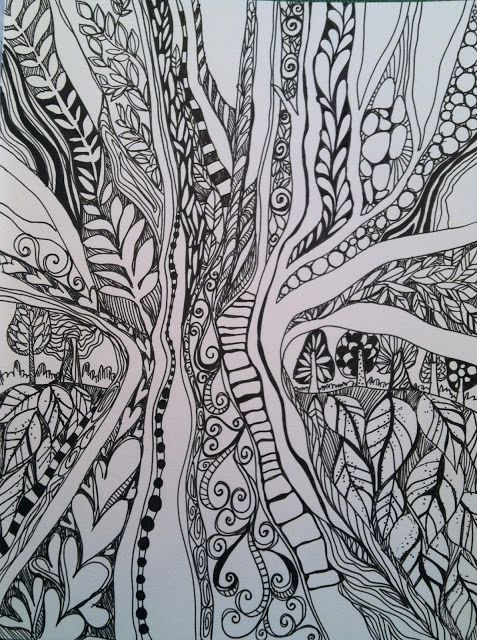 In The Doodle Woods by Joanne Sharpe.  I want to take her on-line class.
