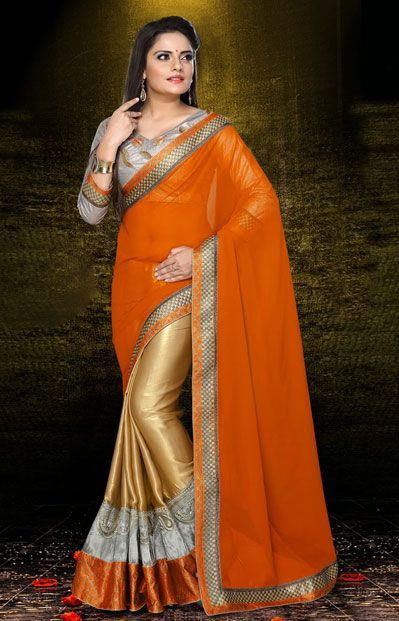 USD 80.57 Coral and Gold Faux Georgette Half N Half Party Wear Saree 40252