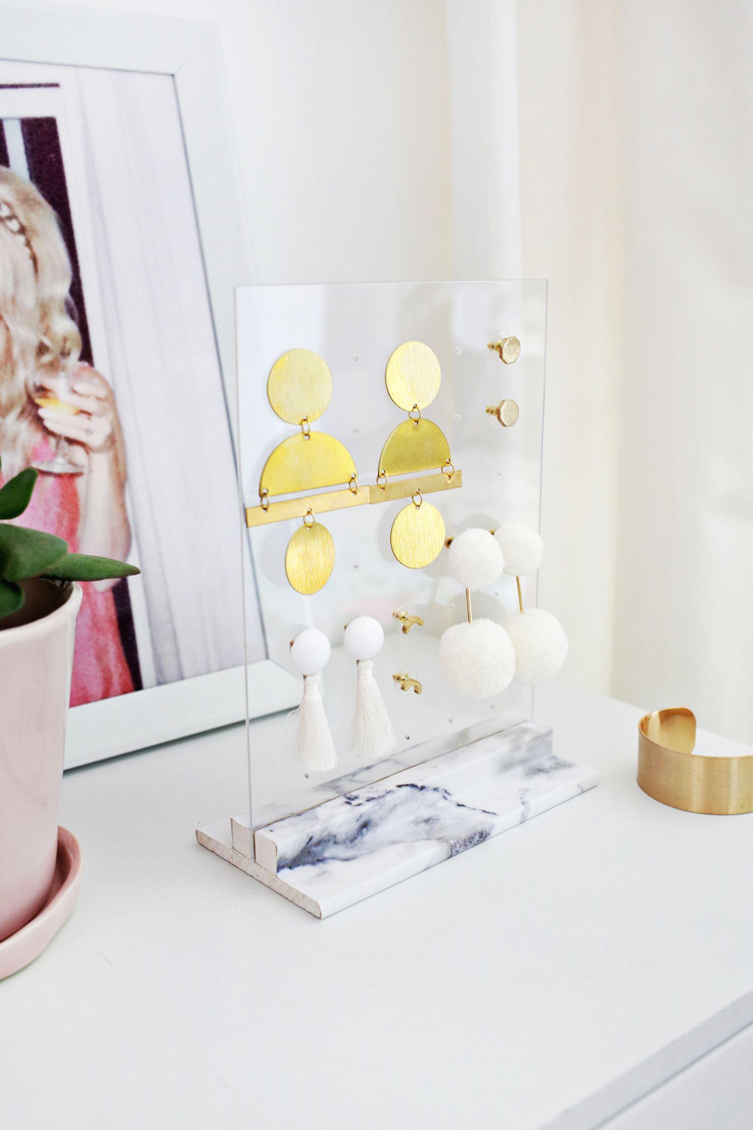 Acrylic Earring Holder DIY | Exibidores, Alambre y Bisutería