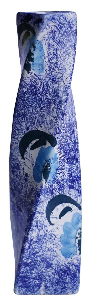 Bulk Wholesale Handmade Ceramic Twisted Vase Hand Painted Cobalt
