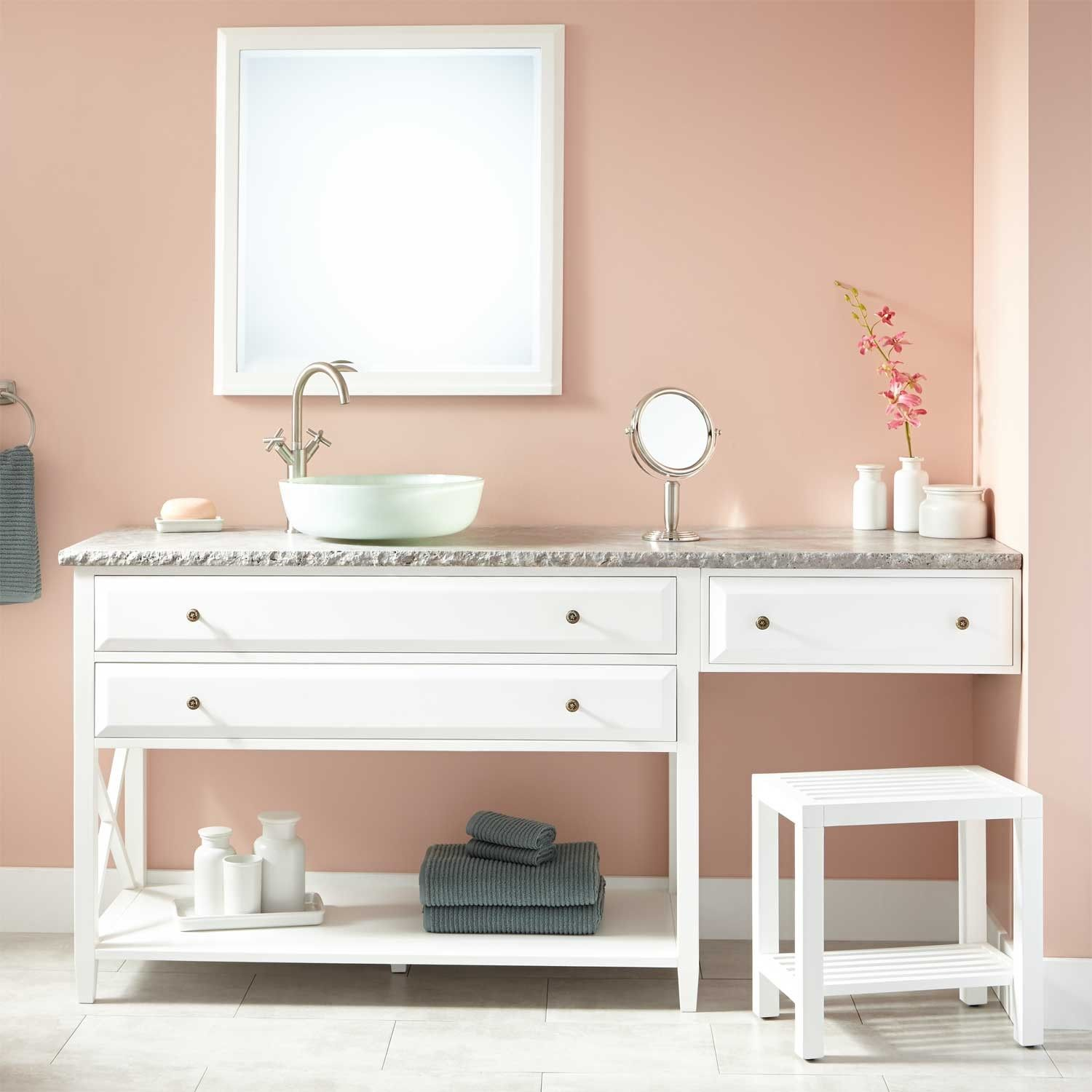72 Glympton Vessel Sink Vanity With Makeup Area White Cheap