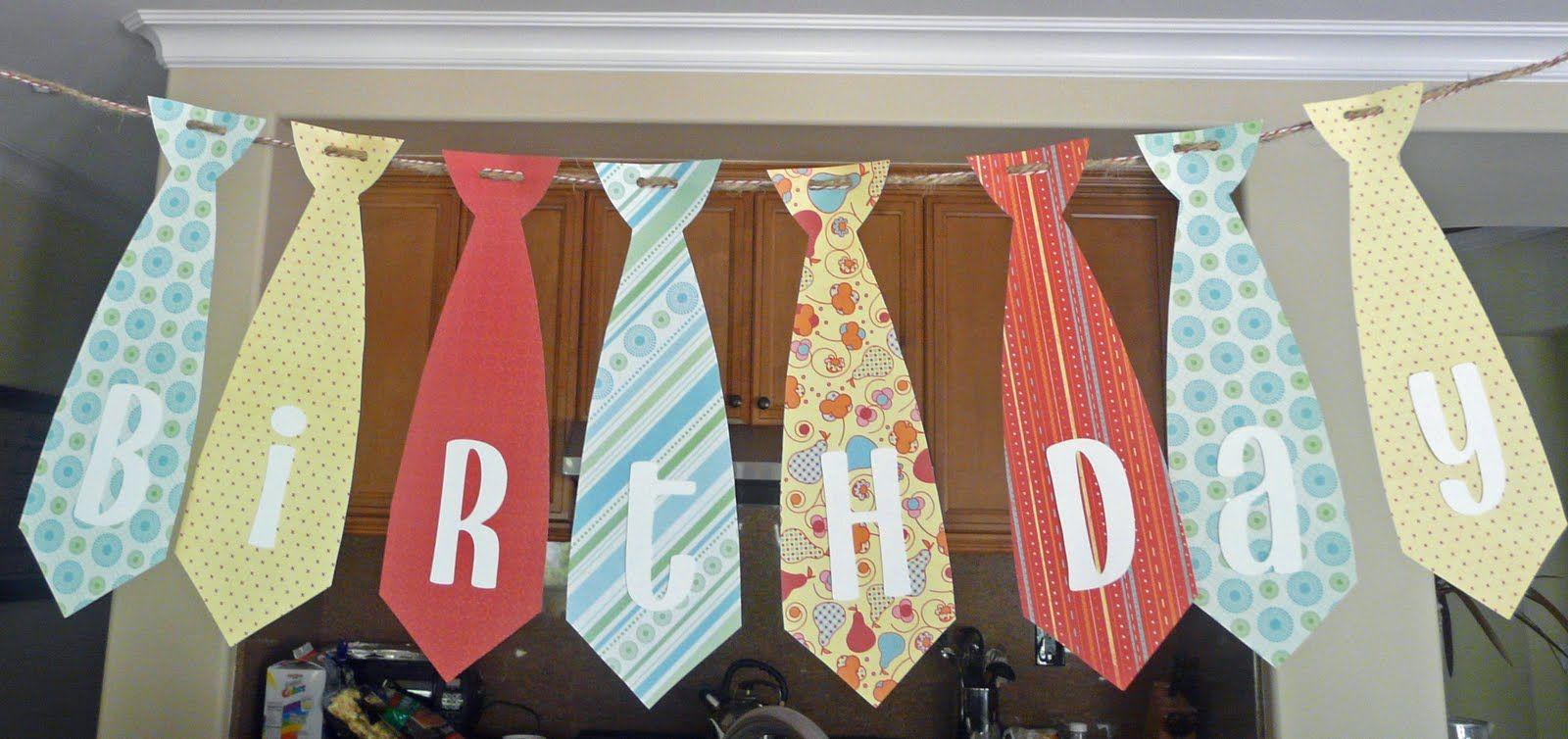 Tie birthday banner