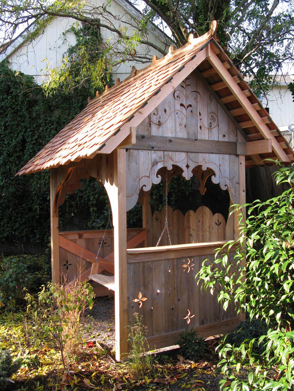 Recycled cedar porch swing house jane hart design garden