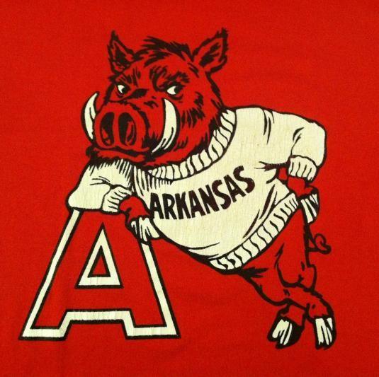 Vintage 1982 Arkansas Razorbacks Tusk T Shirt Mascot Design Arkansas Arkansas Razorbacks