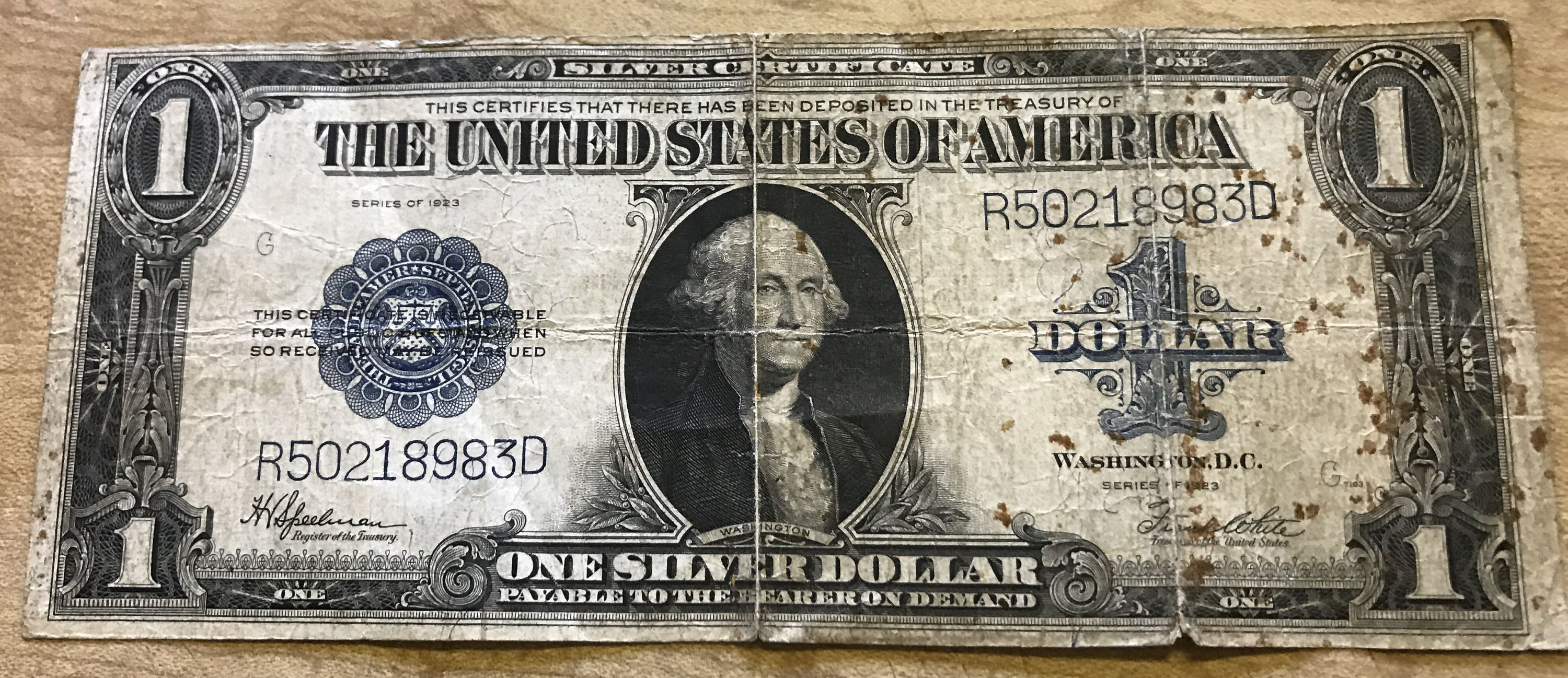 1923 Silver Certificate United State Large One Dollar Bill Blue