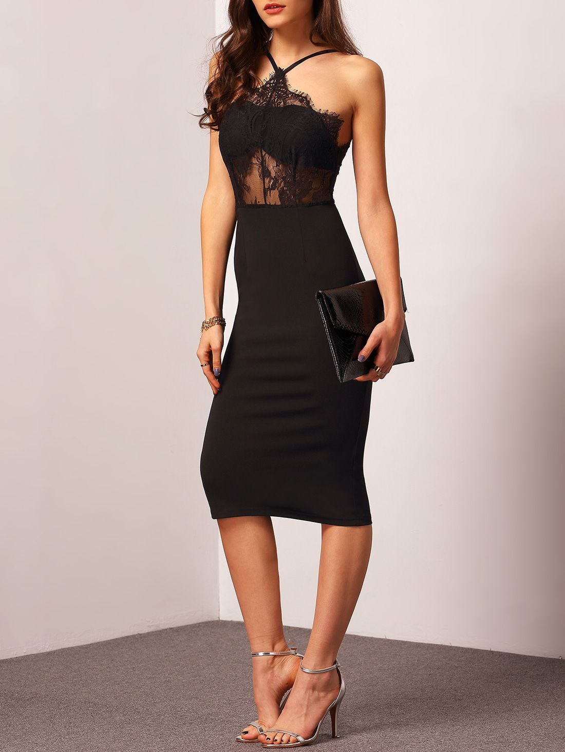Shop Black Halter With Lace Dress Online Shein Offers Black Halter With Lace Dress Amp More To Fit Your Fashionable Needs Bodycon Dress Lace Dress Fashion [ 1465 x 1100 Pixel ]