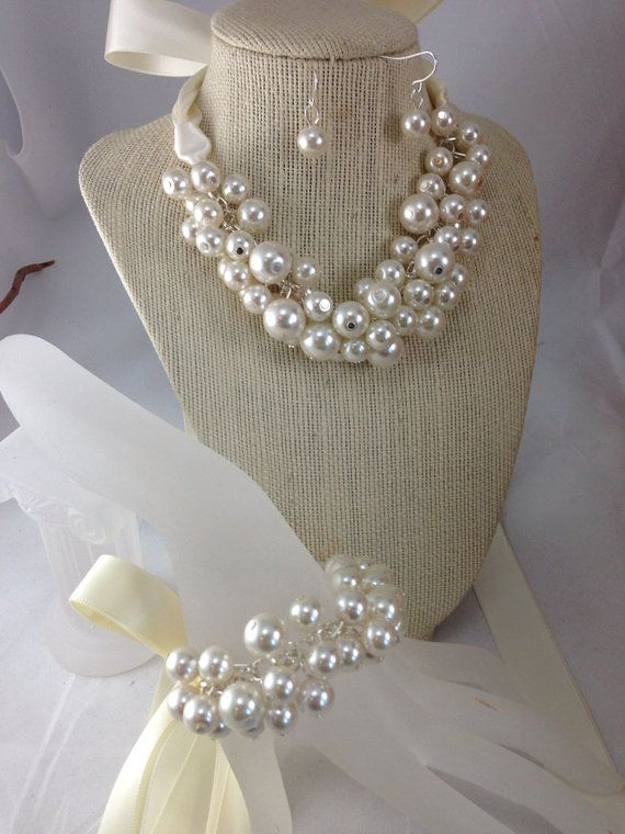 3 piece set in ivory/ ivory and white or white chunky pearl for weddings