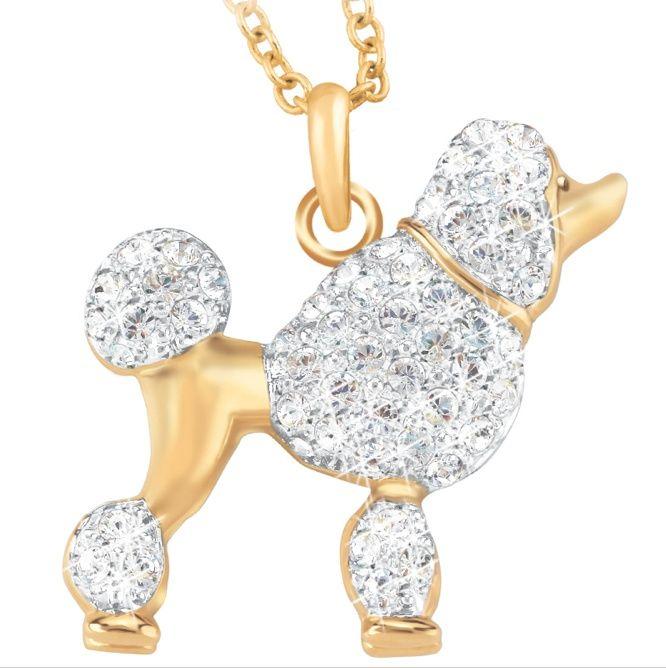 Polished White Gold Diamond-Cut Cute Furry Poodle Dog Pendant