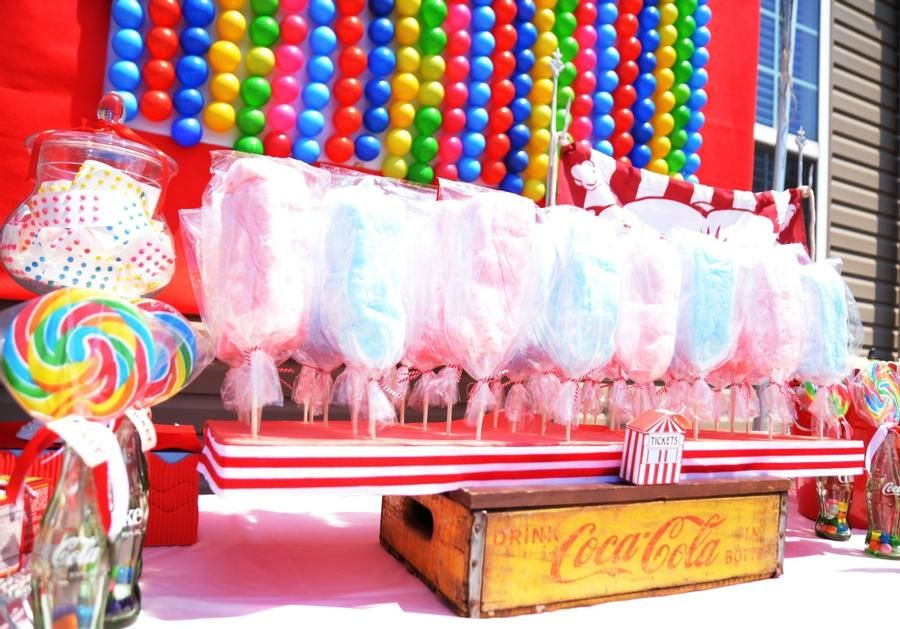 Cotton candy display by A Charming Fete. | Carnival ...