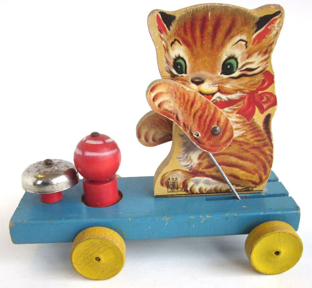 Vintage 1950 Kitty Bell 499 Fisher Price Wood Wooden Pull Toy Kitten ...