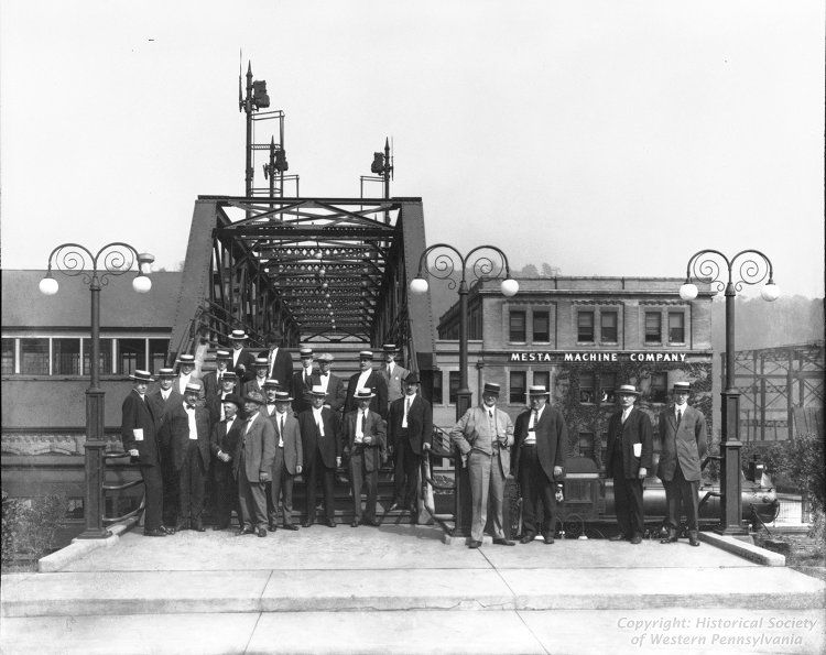 Group Portrait Of Mesta Machine Company Management Personnel Posing At Landing Of Pedestrian Bridge Ov Pennsylvania Railroad Best Places To Live Pittsburgh Pa