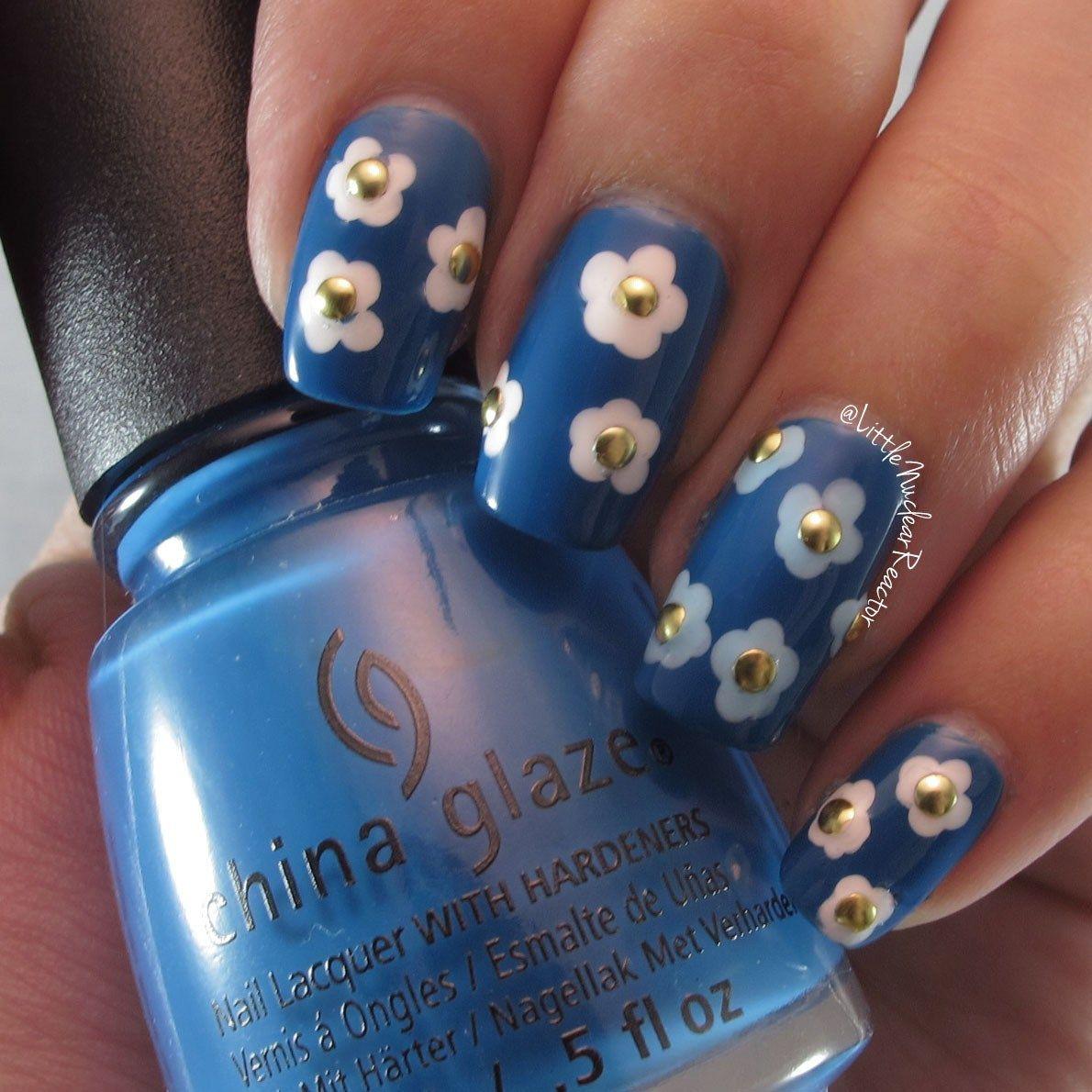 Blue Floral Nail Art Tutorial