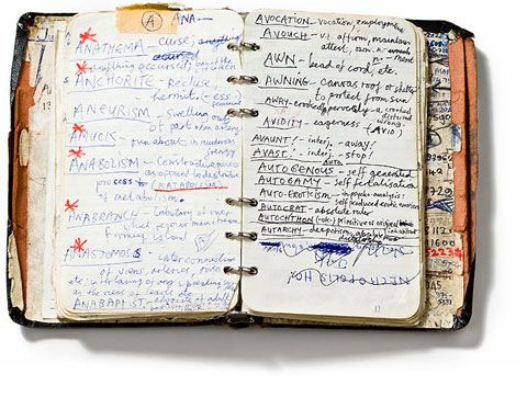 """""""What's more motivating than insight into the process of an artist, as scrawled in a personal notebook, of say, Nick Cave. The Dictionary of Words (1984) is a visual collection of unusual words, later to be developed into his lyrics writing."""""""