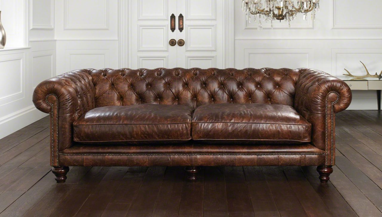 Distressed Leather Sofa Set